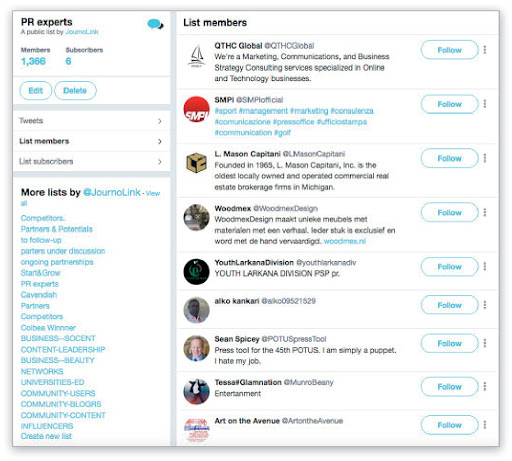 Building relationships with Journalists via Twitter Lists